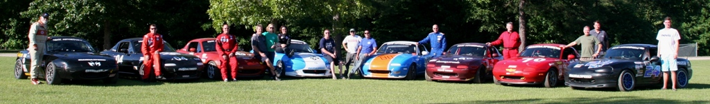 Panic Motorsports Spec Miata team photo at Carolina Motorsports Park Summer 2013
